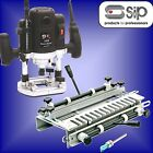 SIP 01478 Professional 1500w 1/2 Plunge Router cutter + Quick Set Dovetail Jig