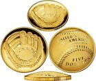 2014 NATIONAL BASEBALL HALL OF FAME $5 GOLD PR70 MS70 PROOF+UNC COIN EACH W OGP!