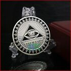 2x Masonic Freemason Coins 2/sided Silver All-Seeing Eye with Hard Plastic Cap.