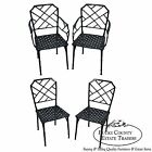 Hollywood Regency Black Painted Cast Aluminum Chinese Chippendale Dining Chairs