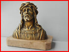 antique /vintage religious statue of  Jesus Christ ,bust metal on marble
