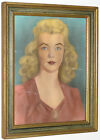 1940s BLUE EYED BLONDE IN RED LIPSTICK VINTAGE WATERCOLOR PORTRAIT 11x14