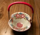 Handpainted Ceramic Flowered Basket with Woven Wicker Handle. Made in Germany