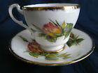 PARAGON CUP SAUCER PINK YELLOW LONG STEM PEACE ROSE GOLD TRIM D50A MAJESTY QUEEN