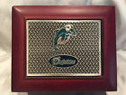NFL Miami Dolphins 2 Piece Square Shape Shot Glass Set In Wood Box Never Used