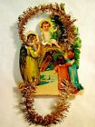 Victorian German Die Cut  Tinsel Christmas Ornament Nativity Baby Jesus  Angel