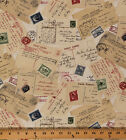 Cotton Vintage Travel Postcards Stamps Cotton Fabric Print by the Yard D47721