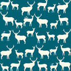 DEER SILHOUETTE FABRIC - BIRCH ELK FAM TEAL - ORGANIC COTTON FABRICS