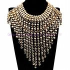 US Ship Fashion Statement Necklace Chain Chunky Bib golden color Alloy Metal
