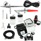 OPHIR 2x Airbrush Kit and 1 6HP Single Cylinder Pro Airbrush Compressor with Fan