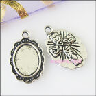 12 New Silver Tone Charms Oval Cross Picture Frame Pendants DIY Crafts 12x19mm