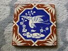 Vintage Porcelain Decorative Tile Brown/Blue With White Wading Bird - 6 inch