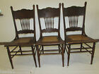 Three Antique Victorian Oak Pressed Back Dining Chairs Caned Seat