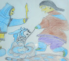 Original Inuit Art Pastel Coloured Drawing by Sarah Iquliq, ~16x22, signed