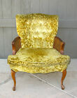 Vintage Hollywood Regency Gold Tufted Crushed Velvet Cane ARM CHAIR French RETRO