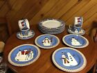 Debbie Mumm 16 Piece Set Snowman Christmas Holiday Stoneware Plates Dishes (367)