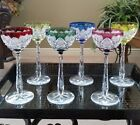 SET OF (6) RARE Val St Lambert ABP Cased Cut to Clear Crystal Wine Hock Goblets