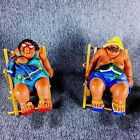 2 Beach Bums Figurines Chairs Cake Toppers Garden Craft Luau Party Decorations