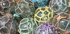 Japanese Glass Fishing FLOATS 3 35 Netted LOT 9 Net Buoy Authentic Vintage