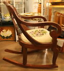 Antique Empire style rocking chair w/needlepoint seat. Paine Furniture of Boston
