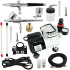 New OPHIR 220V Airbrush Compressor Kit with Fan 2x Airbrush Kit Craftwork Spray