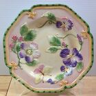 Fitz & Floyd Halcyon Salad Plate Embossed Floral Flowers Butterflies Easter RARE