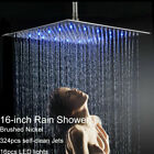 16 inch LED Shower Head Ceiling Wall Mount Brushed Nickel Rain Square Sprayer