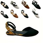 New Women Mary Jane Ankle Strap Ballet Flats Criss Cross Shoes BlackTaupe