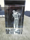 NEW 3 D LASER ETCHED 3 x 2 CRYSTAL GLASS CUBE GOLFER SWING