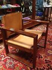 Wood and Leather 1950s Modern Designed Chair