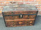 BROS. CAMELBACK TRUNK storage chest steamer train luggage antique