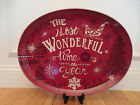222 Fifth Christmas Tunes Red Most Wonderful Time Merry Bright HUGE Oval Platter