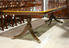 High end 9' mahogany traditional 2 pedestal formal dining table seats 8 people