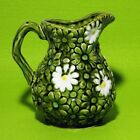 Vintage ceramic green white daisy pitcher hand painted Relpo embossed 5996 Japan