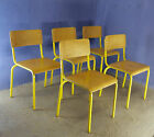 1 of 20 VINTAGE 1970 1980 SCHOOL BAR BISTRO CAFE STACKING CHAIRS BEECH PLYWOOD