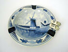 Vintage 1960's~Delft~Hand Painted Blue/White~Rnd Ashtray w/Windmill