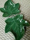 (2) Hall Green Leaf shaped Candy Nut Serving Dish Decorative