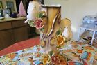 CAPODIMONTE VINTAGE COLLECTABLE FLORAL VASE HAND PAINTED W/24K GOLD PAINT