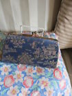 1940's/50's Blue Silk Oriental Pattern Clutch Bag