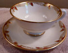 2 vintage Lenox art deco ESSEX maroon and gold leaves border cup and saucer sets