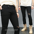 Mens Fashion Vintage Distressed Ripped Black Slim Skinny Jeans 365 GENTLERSHOP