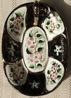 VINTAGE MID-20th CENTURY HAND PAINTED PORCELAIN DISH WITH GOLD TRIM - JAPAN