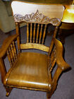 Antique Oak Rocking Chair childs Refinished Restored early 1900's press back