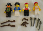 VTG Lot of 4 LEGO PIRATE Minifigures RED BEARD + FEMALE  + accessories (80s-90s)