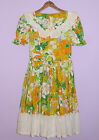VINTAGE SQUARE DANCE DRESS 1960s-1970s HEE-HAW FLORAL PATTERN HANDMADE