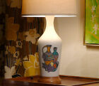 MID CENTURY MODERN SIGNED PLASTER TABLE LAMP w RETRO STILL LIFE ILLUSTRATION