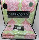 NEW Cynthia Rowley FULL/QUEEN Quilt Set White/Pink-Lime Green Multi Print-Stripe