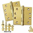 Door Hinges 4 x 4 Solid Brass Ball Bearing Polished Brass US3 Set of 2