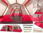 Ozark Trail 15 Person 3 Room Instant Cabin Large Tent Waterproof Camping Outdoor
