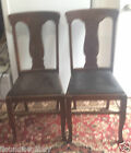 2 Vintage Antique Early Oak T-Back Dining Chairs - All Original
